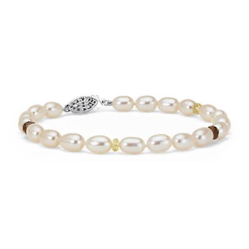 Freshwater Cultured Pearl, Citrine and Smoky Quartz Bracelet in Sterling Silver
