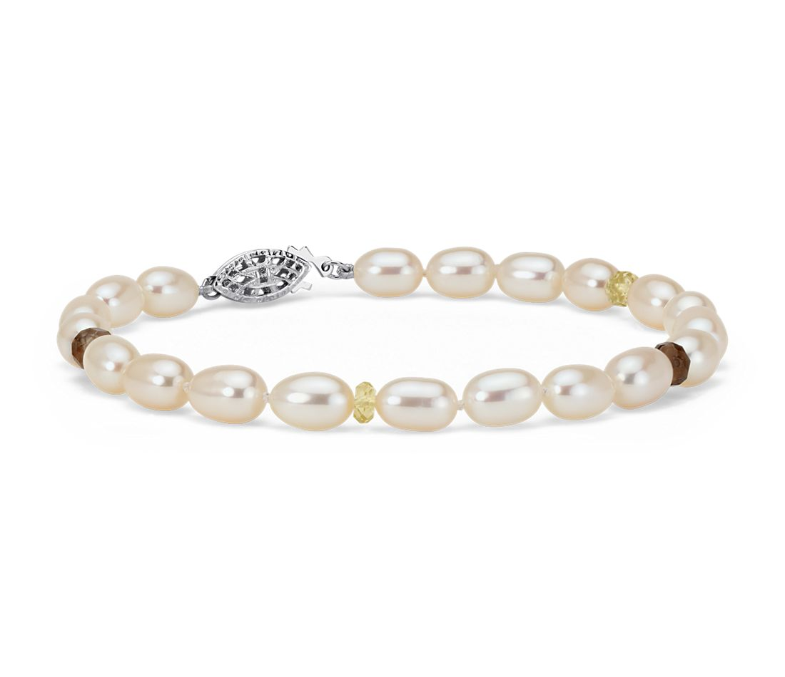 Freshwater Cultured Pearl, Citrine and Smoky Quartz Bracelet in Sterling Silver (5.5mm)