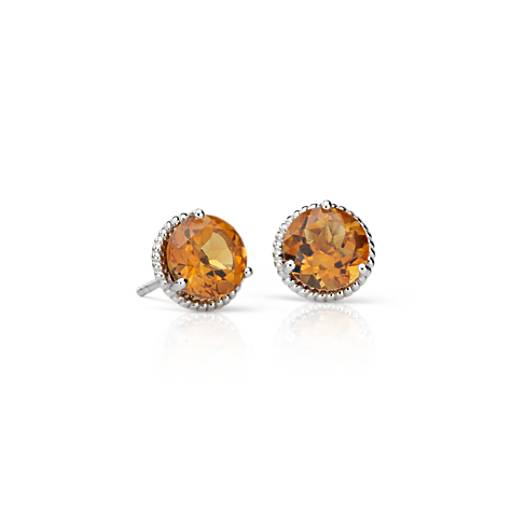 NEW Citrine Rope Stud Earrings in Sterling Silver (7mm)