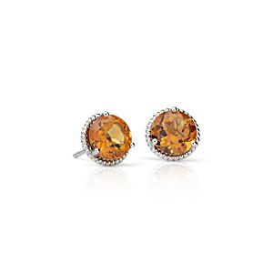 Citrine Rope Stud Earrings in Sterling Silver (7mm)