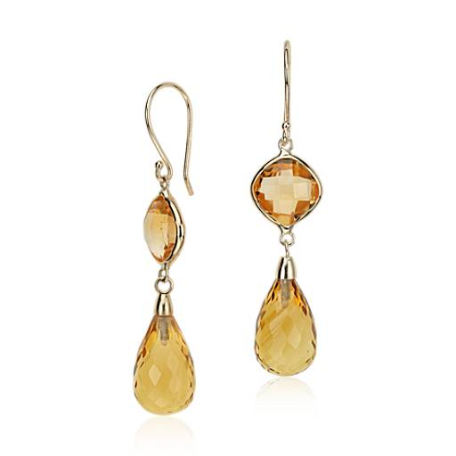 Citrine Drop Earrings in 14k Yellow Gold (13x8mm)