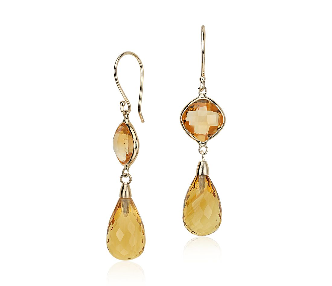 Pendants d'oreilles citrine en or jaune 14 carats (13 x 8 mm)