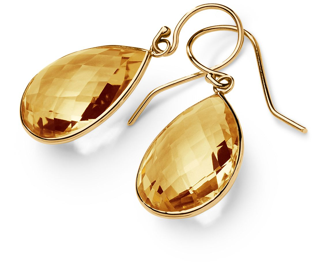 Pendants d'oreilles citrine en or jaune 14 carats (20 x 15 mm)
