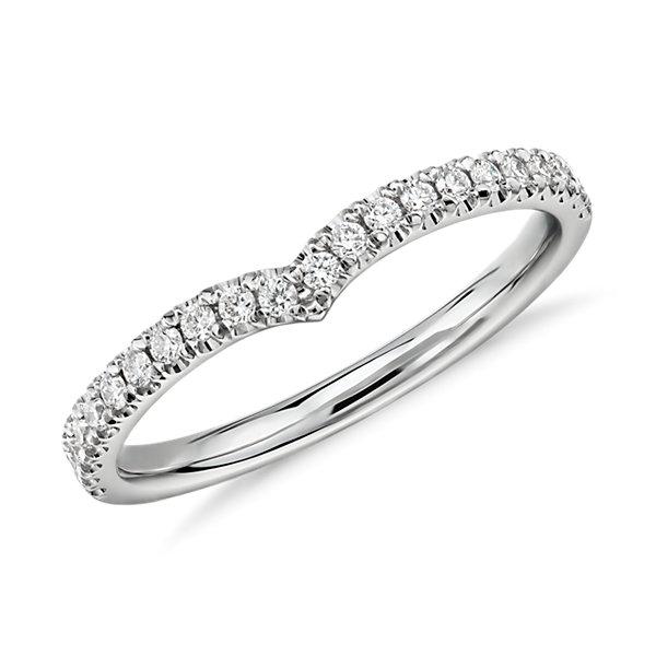 Classic V-Curved Diamond Ring in Platinum (1/5 ct. tw.)