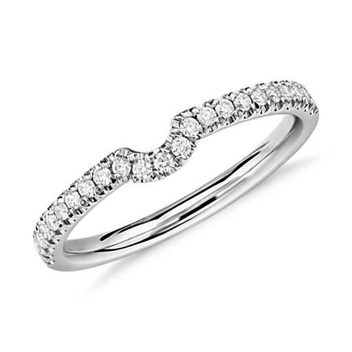 Classic Curved Diamond Ring in Platinum (1/6 ct. tw.)