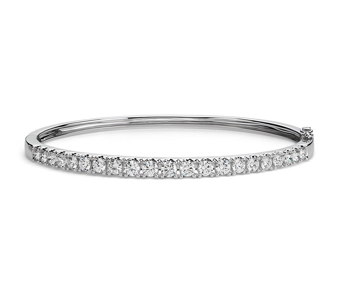 Jonc diamant classique en or blanc 18carats (2,5carats, poids total)