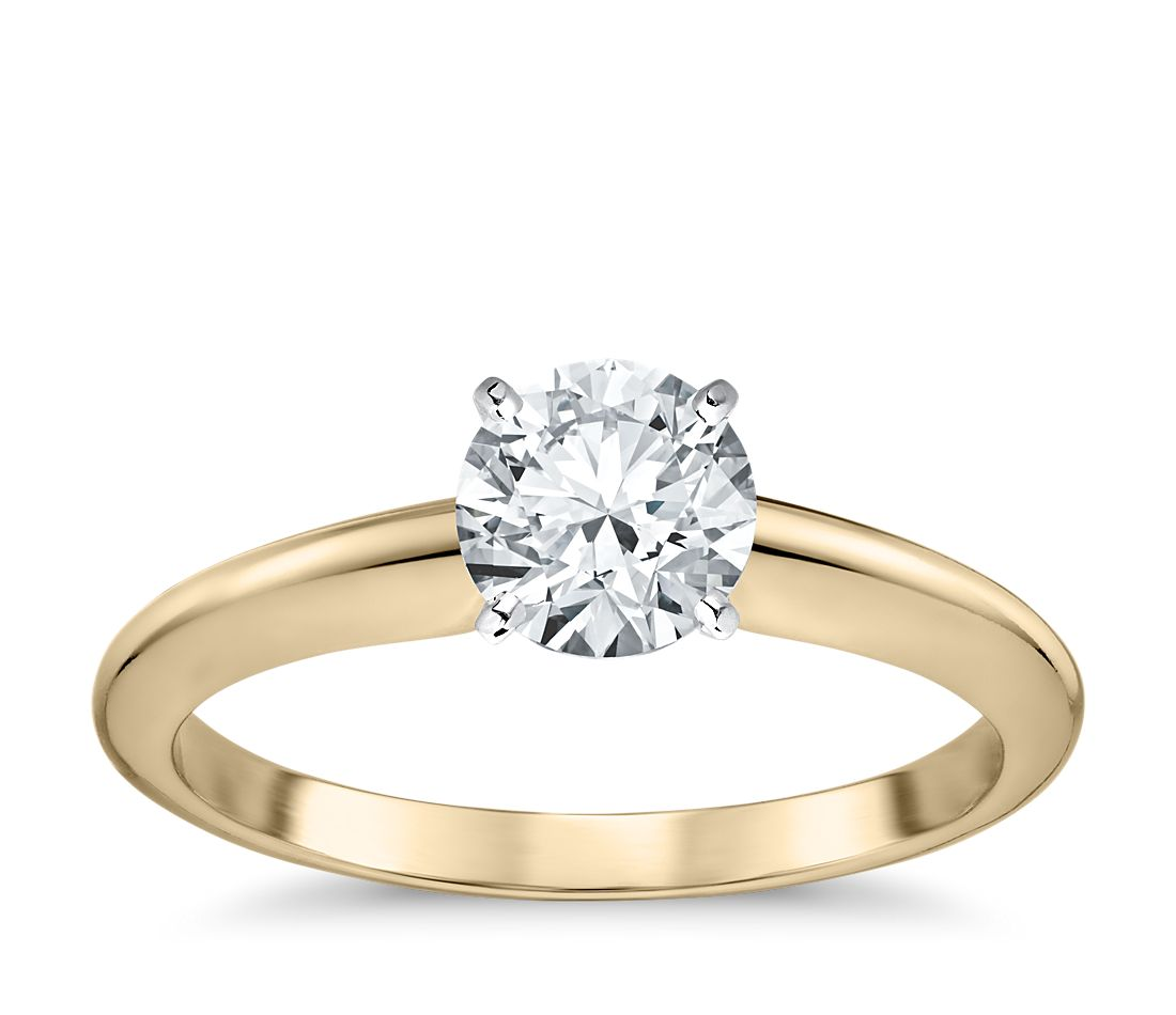 classic four prong solitaire engagement ring in 18k yellow gold blue nile. Black Bedroom Furniture Sets. Home Design Ideas