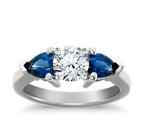 Classic Pear Shaped Sapphire Engagement Ring in Platinum for Larger Diamonds