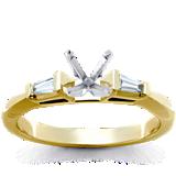 Bague de fiançailles solitaire avec six griffes classique en or jaune 18carats