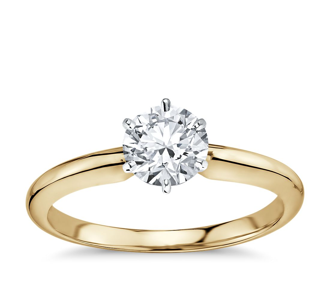 classic six prong solitaire engagement ring in 18k yellow. Black Bedroom Furniture Sets. Home Design Ideas