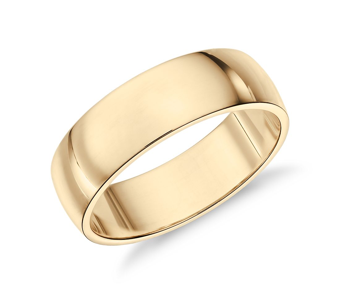 Classic Wedding Ring In 14k Yellow Gold 6mm