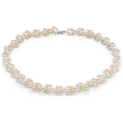 Collier grappe de perles de culture d'eau douce avec or blanc 14 carats (3-5 mm)