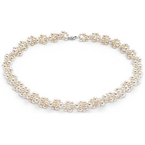 Freshwater Cultured Pearl Cluster Necklace with 14k White Gold (3-5mm)