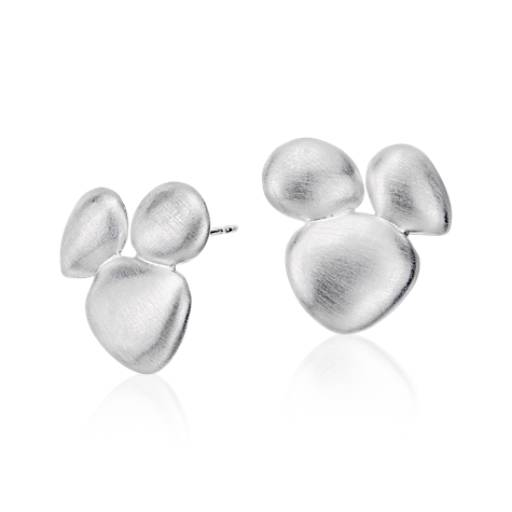 Cluster Pebble Stud Earrings in Satin Sterling Silver