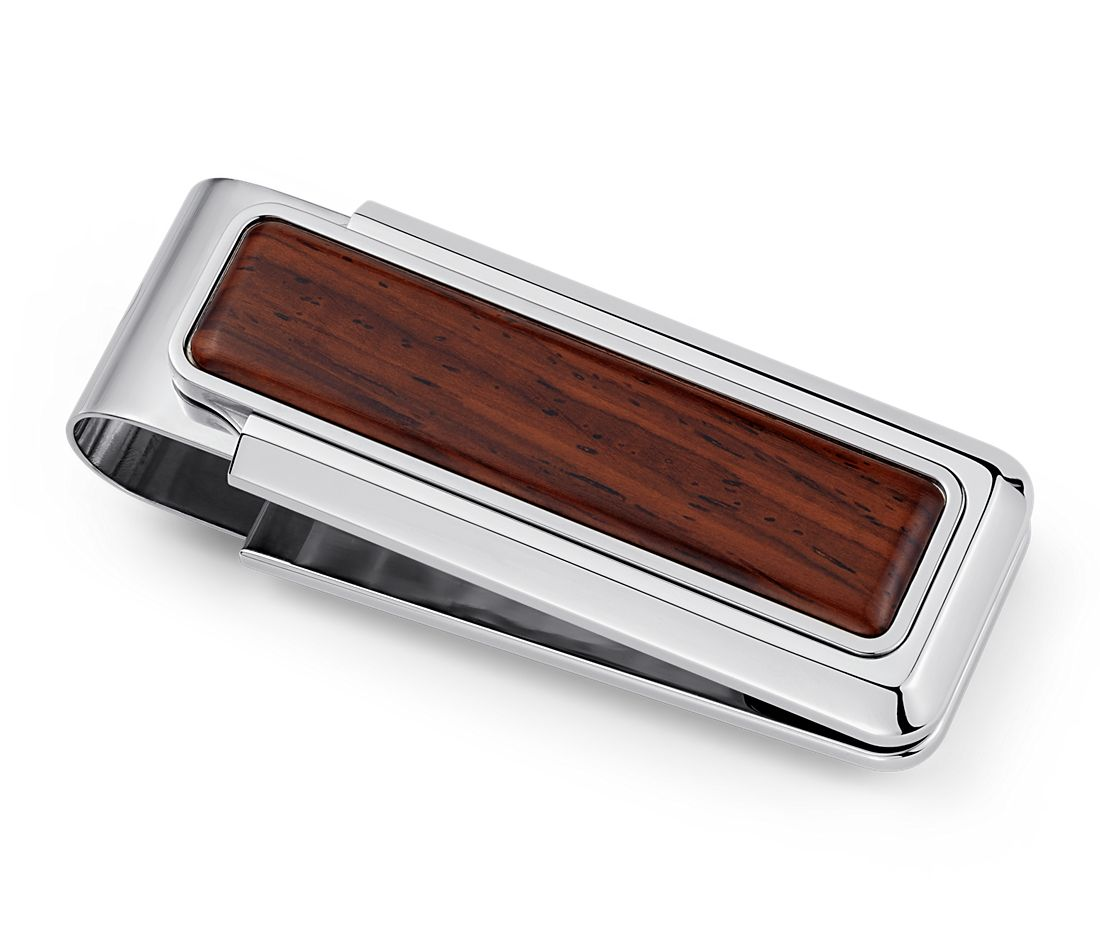 Wooden Money Clip in Stainless Steel