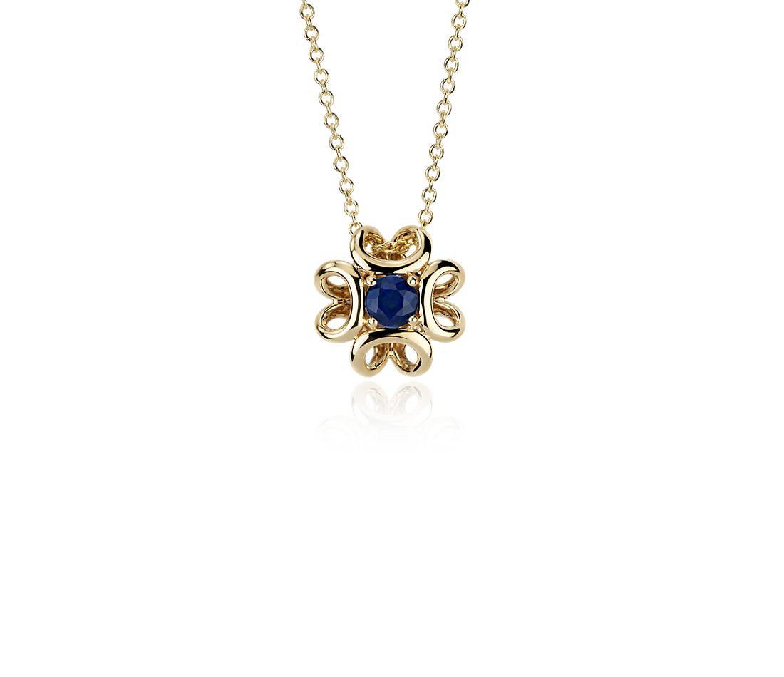 colin cowie sapphire pendant in 14k yellow gold 4mm