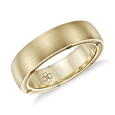 Colin Cowie Brushed Diamond Wedding Ring in 18k Yellow Gold (6mm)