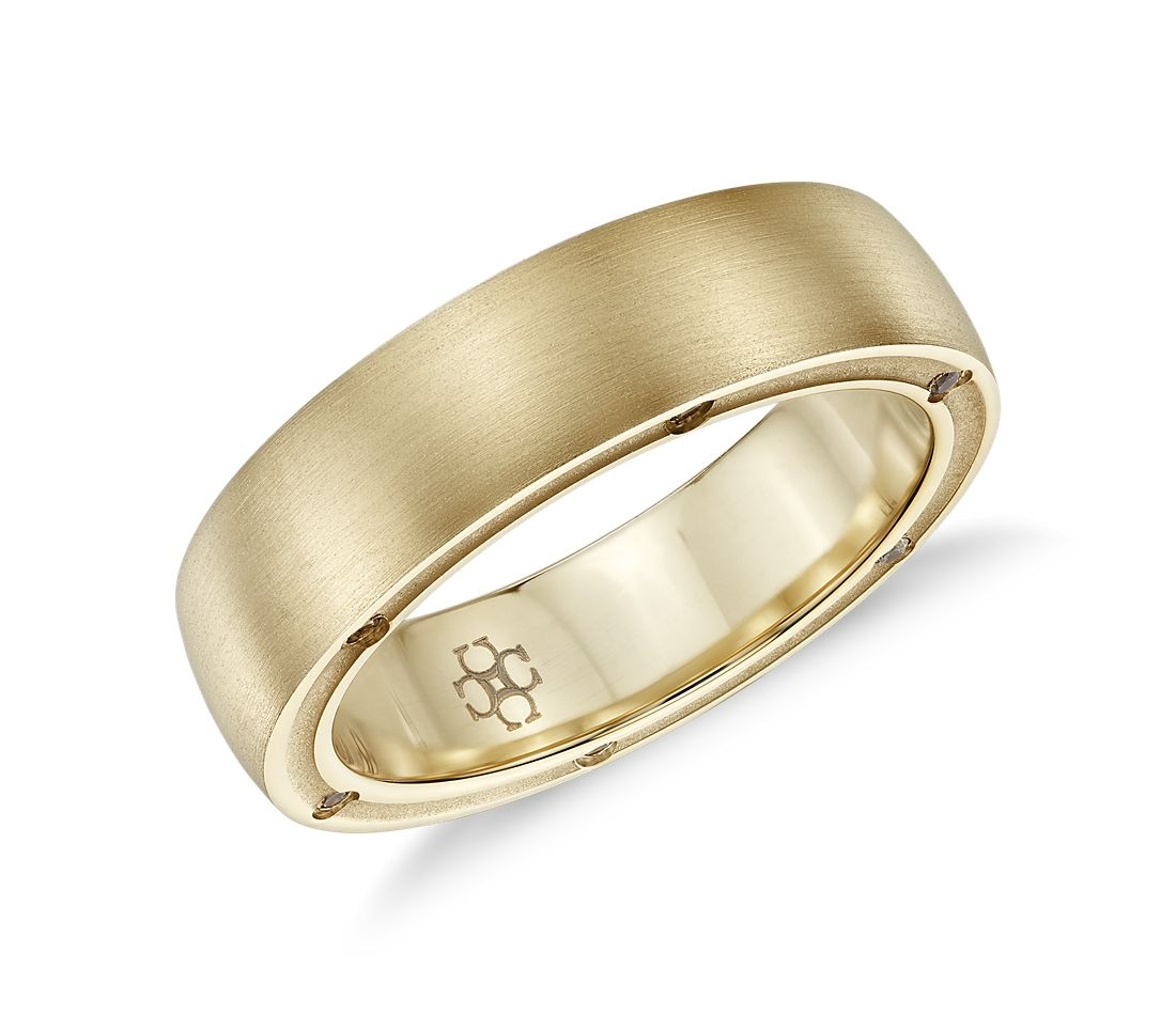 Colin Cowie Men 39 S Brushed Diamond Wedding Ring In 18k Yellow Gold 6mm