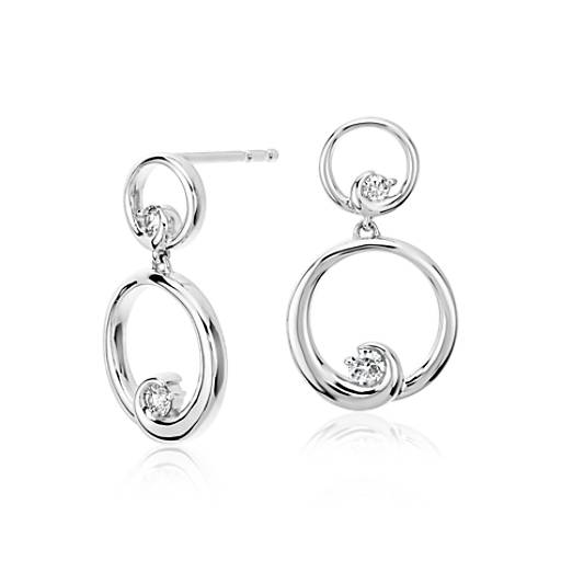 Colin Cowie Diamond Circle Drop Earrings in 14k White Gold