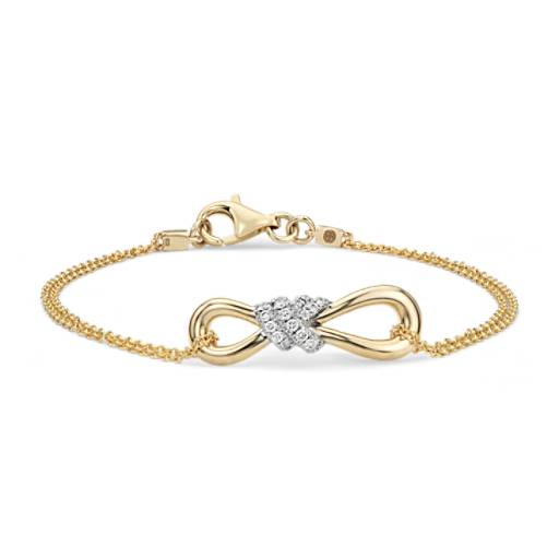 NEW Colin Cowie Diamond Infinity Chain Bracelet in 14k Yellow Gold