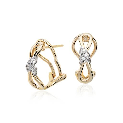 Aretes de diamantes con diseño de infinito de Colin Cowie en oro amarillo de 14k (1/10 qt. total)