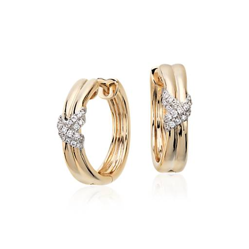 Colin Cowie Diamond Infinity Hoop Earrings in 14k Yellow Gold