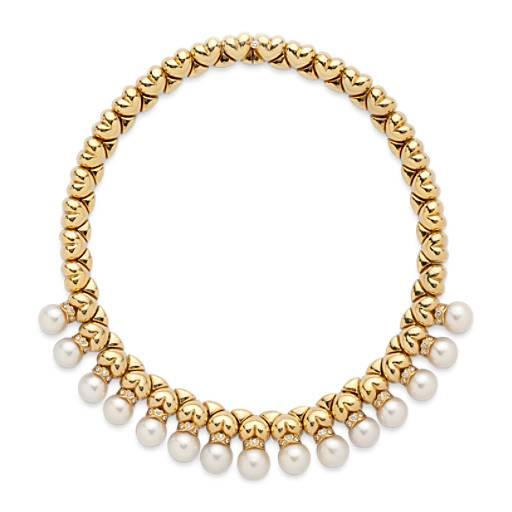 NUEVO. Estate Cultured Pearl & Collar de diamante in oro amarillo de 18k (1 qt. total)