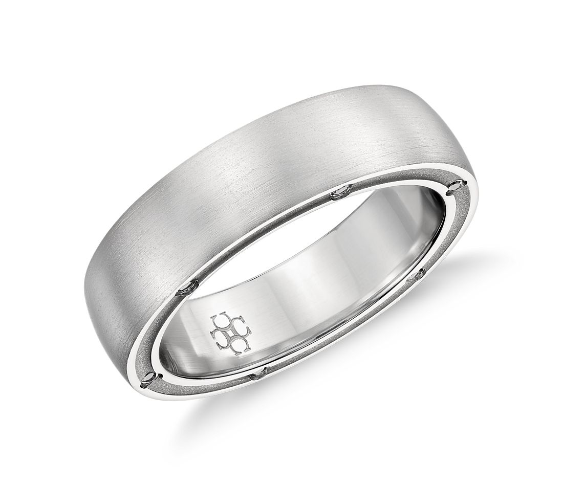 Colin Cowie Brushed Diamond Wedding Ring In Platinum (6mm