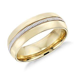 Alliance avec incrustation mille-grains pour homme Colin Cowie en or jaune et platine 18carats (6mm)