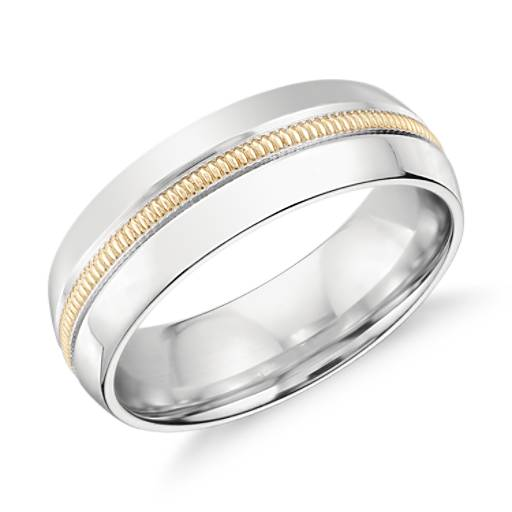 Colin Cowie Milgrain Inlay Wedding Ring in Platinum and 18k Yellow Gold (6mm)