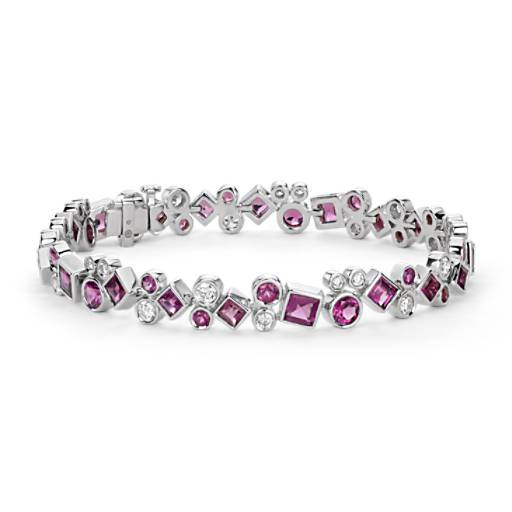 Colin Cowie Rhodolite and Diamond Bracelet in 14k White Gold