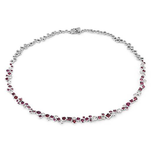 NEW Colin Cowie Rhodolite and Diamond Necklace in 14k White Gold