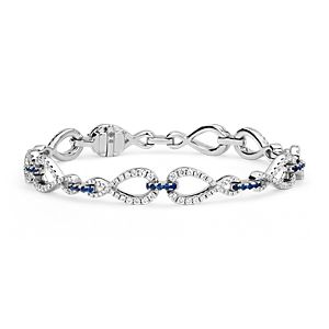 Bracelet infini diamant et saphir Colin Cowie en or blanc 14carats