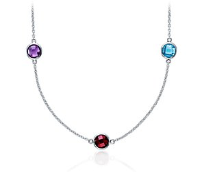 Multicolor Gemstone Necklace in Sterling Silver - 36