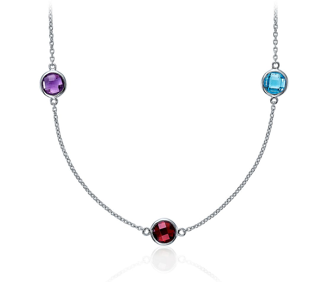 "Multicolor Gemstone Necklace in Sterling Silver - 36"" Long"