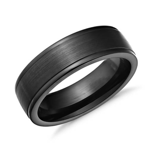 Satin Finish Wedding Ring in Blackened Cobalt (7mm)