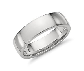 Comfort Fit Low Dome Wedding Ring in Platinum (6mm)
