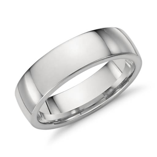 Milgrain Comfort Fit Wedding Ring In Platinum 6mm: Low Dome Comfort Fit Wedding Ring In Platinum (6mm)