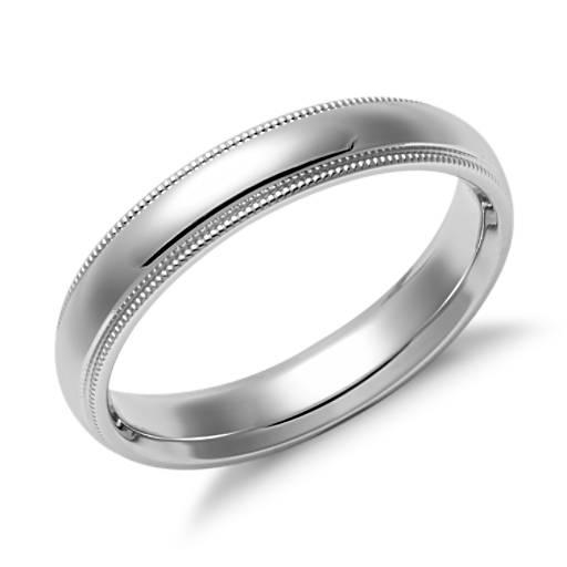 Alianza de ajuste cómodo milgrain en oro blanco de 14k (4 mm)
