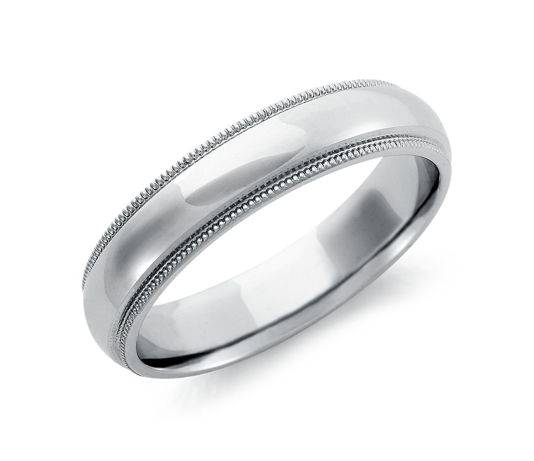 Milgrain comfort fit wedding ring in palladium 5mm for Palladium wedding ring