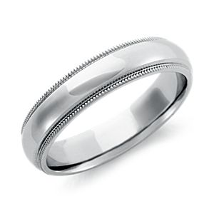 Milgrain Comfort Fit Wedding Ring in Palladium (5mm)