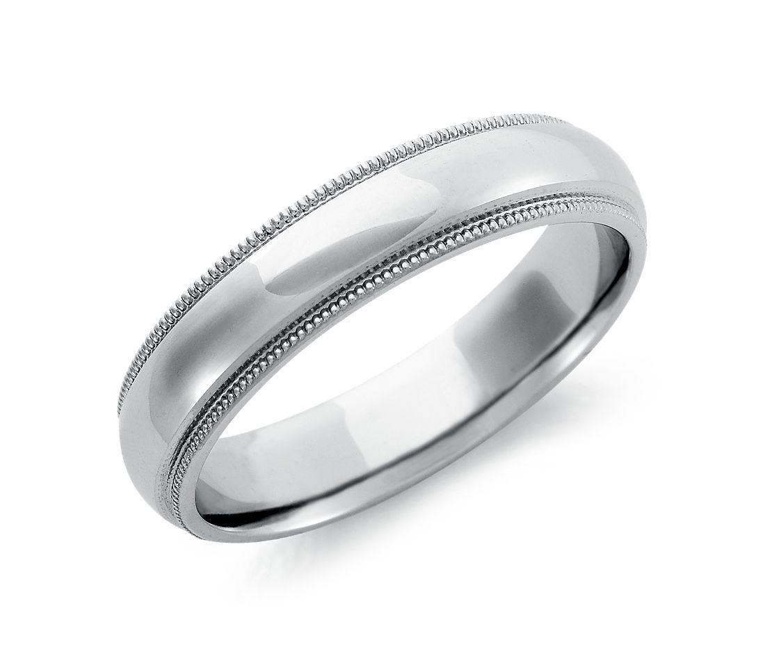Alianza de ajuste cómodo milgrain en Paladio (5mm)