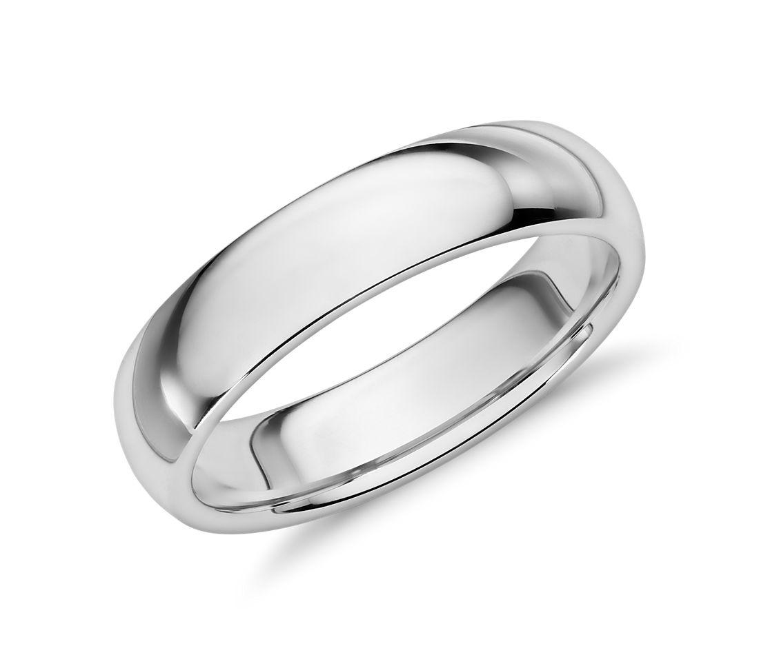 Alliance confort en or blanc 14carats (5mm)