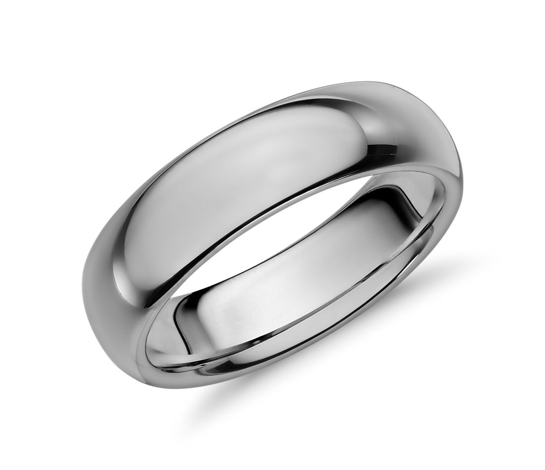 Comfort Fit Wedding Ring in Gray Tungsten Carbide (6mm)