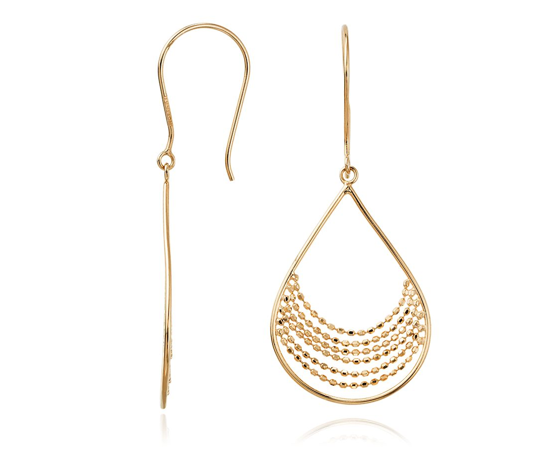 Crescent Drop Earrings in 14k Yellow Gold