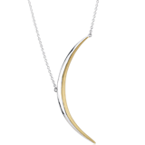 Crescent Moon Necklace in Sterling Silver and Yellow Gold Vermeil