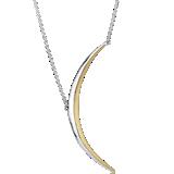 Collar con media luna en plata de ley y Plata bañada en oro amarillo de 18k
