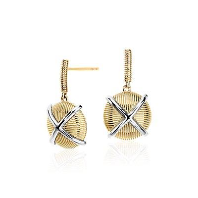 Frances Gadbois Crisscross Strie Drop Earrings in 14k Yellow Gold and Sterling Silver