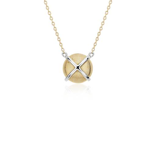 NEW Frances Gadbois Crisscross Strie Necklace in 14k Yellow Gold & Sterling Silver