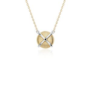 Frances Gadbois Crisscross Strie Necklace in 14k Yellow Gold and Sterling Silver
